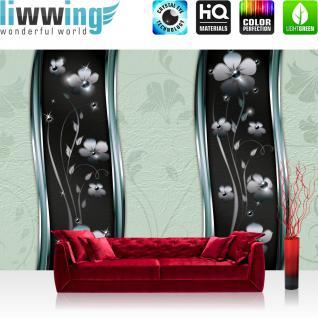 liwwing Vlies Fototapete 350x245 cm PREMIUM PLUS Wand Foto Tapete Wand Bild Vliestapete - Ornamente Tapete Blüten Blätter Ranke Sterne Muster Design grün - no. 813
