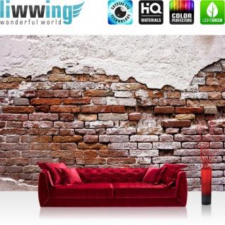 Fototapete Steinwand Tapete Backsteinmauer, Putz, rustikal, Vintage rot | no. 3258 - Vorschau 2