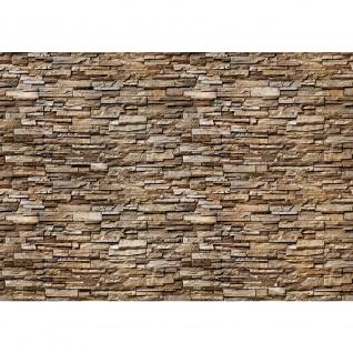 Fototapete Noble Stone Wall - braun - kleinere Steine - anreihbare Tapete Steinwand Steinoptik Wand grau | no. 145