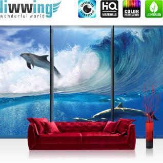 liwwing Vlies Fototapete 208x146cm PREMIUM PLUS Wand Foto Tapete Wand Bild Vliestapete - Tiere Tapete Delfine Tiere Wasser Meer Welle Sonne Wolken blau - no. 2064