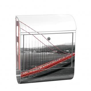 Edelstahl Wandbriefkasten XXL mit Motiv & Zeitungsrolle | Golden Gate Bridge Wasser USA schwarz-weiß. Rot | no. 0429