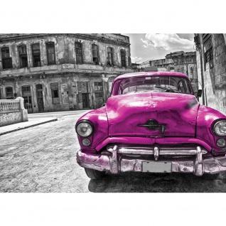 Fototapete Autos Tapete Oldtimer Auto Kuba Havanna Ölfarbe schwarz - weiß | no. 2888