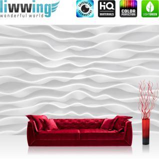liwwing Fototapete 254x168 cm PREMIUM Wand Foto Tapete Wand Bild Papiertapete - Kunst Tapete Design Wellen Abstrakt Muster weiß - no. 2869