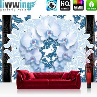 liwwing Fototapete 368x254 cm PREMIUM Wand Foto Tapete Wand Bild Papiertapete - Ornamente Tapete Orchideen Blume Floral Natur blau - no. 1202