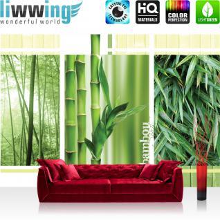 liwwing Vlies Fototapete 312x219cm PREMIUM PLUS Wand Foto Tapete Wand Bild Vliestapete - Bambus Tapete Blätter Wald Natur grün - no. 539