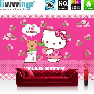 liwwing Vlies Fototapete 350x245 cm PREMIUM PLUS Wand Foto Tapete Wand Bild Vliestapete - Mädchen Tapete Hello Kitty - Kindertapete Cartoon Katze Herzen Kirschen Bär pink - no. 1025