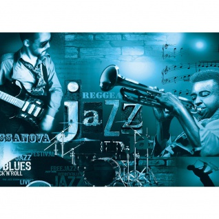 Fototapete Kunst Tapete Musik Kunst Jazz Reggae Gitarre Schlagzeug Trompeten petrol   no. 2648