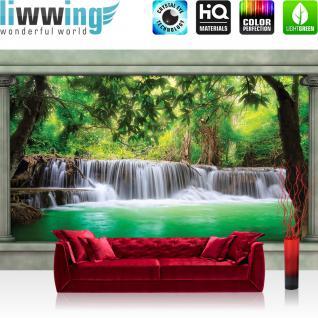 liwwing Vlies Fototapete 312x219cm PREMIUM PLUS Wand Foto Tapete Wand Bild Vliestapete - Natur Tapete Wasserfall Säulen Tropic Bäume Wasser Paradies Pflanzen grün - no. 2451