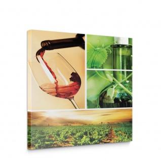 Leinwandbild Rotwein Glas Pflanze Getränke Feld Grün Küche | no. 289