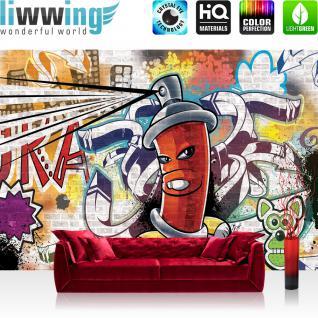 liwwing Fototapete 254x168 cm PREMIUM Wand Foto Tapete Wand Bild Papiertapete - Graffiti Tapete Kindertapete Dose Sprayer bunt - no. 338