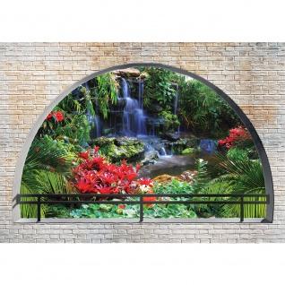 Fototapete Natur Tapete Tropen Wasserfall Felsen Pflanzen Blumen Steinwand Steine bunt | no. 2969