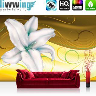 liwwing Fototapete 368x254 cm PREMIUM Wand Foto Tapete Wand Bild Papiertapete - Blumen Tapete Blüten Orchidee Kunst Schnörkel gelb - no. 2583