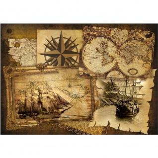 Fototapete Geographie Tapete Geografie Karte Schiff Vintage Kompass braun | no. 1861