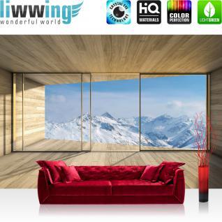 liwwing Vlies Fototapete 416x254cm PREMIUM PLUS Wand Foto Tapete Wand Bild Vliestapete - Landschaft Tapete Holz Raum Ausblick Berge Winter Schnee Alpen blau - no. 1894