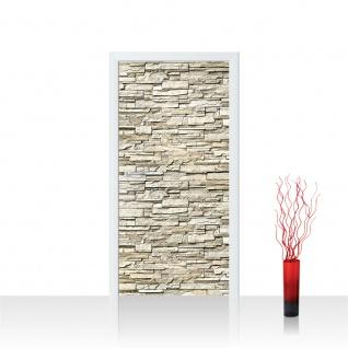 Türtapete - Noble Stone Wall - beige Steinwand Steinoptik Verblendsteine Wandverblender | no. 146