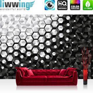 liwwing Vlies Fototapete 368x254cm PREMIUM PLUS Wand Foto Tapete Wand Bild Vliestapete - Texturen Tapete Polygone Dreiecke Kegel Pyramiden schwarz - weiß - no. 3455