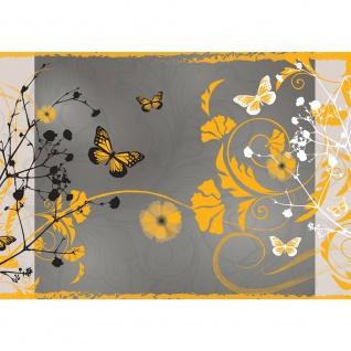 Fototapete Kunst Tapete Design Blumen Schmetterlinge Rahmen grau | no. 3064
