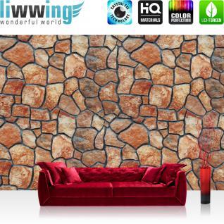 liwwing Vlies Fototapete 208x146cm PREMIUM PLUS Wand Foto Tapete Wand Bild Vliestapete - Steinwand Tapete Steinoptik Steine braun - no. 2186