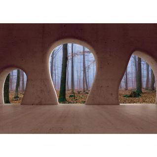 Fototapete Architektur Tapete Wald Bäume Nebel Herbst Natur Baustil Bauform braun | no. 1510