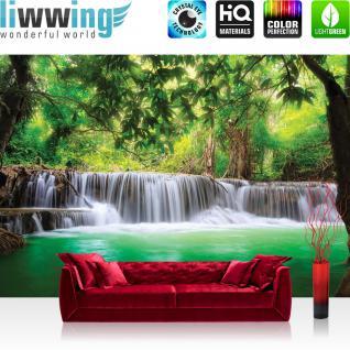liwwing Vlies Fototapete 312x219cm PREMIUM PLUS Wand Foto Tapete Wand Bild Vliestapete - Wasser Tapete Wasserfall Wasser Natur Bäume Blätter grün - no. 2882