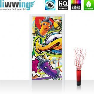 liwwing Türtapete selbstklebend 91x211 cm PREMIUM PLUS Tür Fototapete Türposter Türpanel Foto Tapete Bild - Kindertapete Graffiti Dosen Sprayer - no. 342