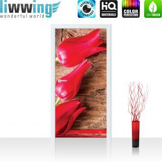 liwwing Türtapete selbstklebend 91x211 cm PREMIUM PLUS Tür Fototapete Türposter Türpanel Foto Tapete Bild - Tulpen Holz - no. 830