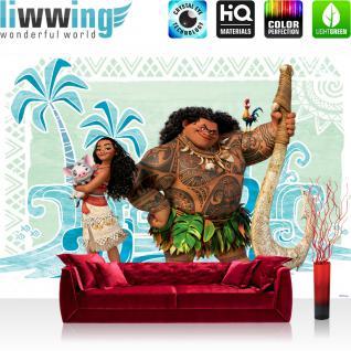 liwwing Fototapete 368x254cm PREMIUM Wand Foto Tapete Wand Bild Papiertapete - Disney Disney - Vaiana Tapete Vaiana Maui Pua Heihei bunt - no. 3345