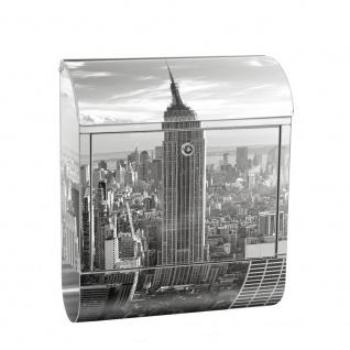 Edelstahl Wandbriefkasten XXL mit Motiv & Zeitungsrolle | New York City USA Amerika Empire State Building | no. 0015
