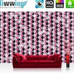 liwwing Vlies Fototapete 350x245 cm PREMIUM PLUS Wand Foto Tapete Wand Bild Vliestapete - Illustrationen Tapete Abstrakt Rechtecke Dreiecke Kacheln bunt Muster Illustrationen lila - no. 396