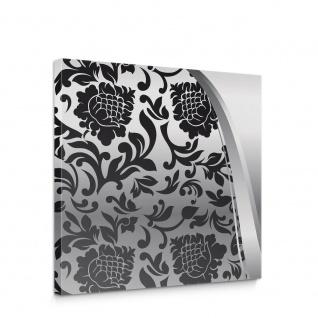 Leinwandbild Ornamente Elegant Barock schwarz-weiß Grau Blumig Wohnzimmer   no. 275