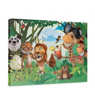 Leinwandbild Jungle Animals Party II Zoo Tiere Safari Comic Party Dschungel | no. 87