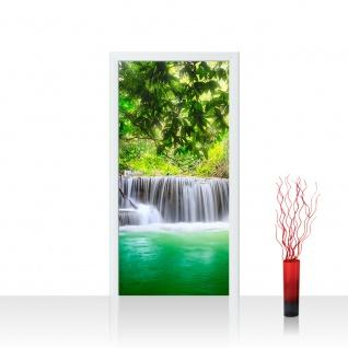 Türtapete - Deep Forest Waterfalls Wasserfall Bäume Wald Thailand See Wasser Meer | no. 67