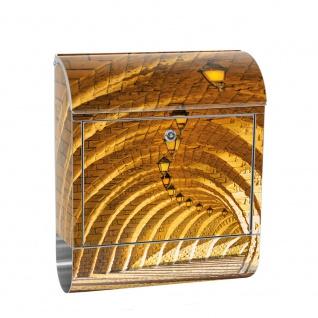 Edelstahl Wandbriefkasten XXL mit Motiv & Zeitungsrolle | Arkaden 3D Gewölbe Säulen Sandstein Stein | no. 0066