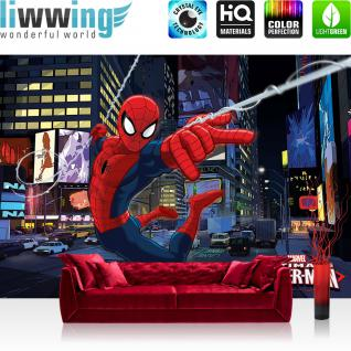 liwwing Vlies Fototapete 416x254cm PREMIUM PLUS Wand Foto Tapete Wand Bild Vliestapete - Cartoon Tapete Marvel SPIDERMAN Superheld Kindertapete anthrazit - no. 2894
