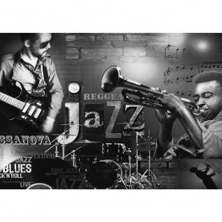 Fototapete Kunst Tapete Musik Jazz Reggae Blues Rock'n'Roll Gitarre Schlagzeug schwarz - weiß | no. 2128