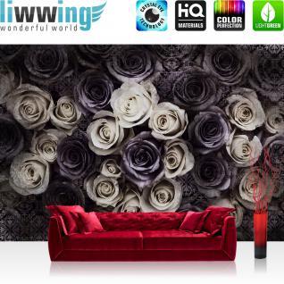 liwwing Vlies Fototapete 300x210 cm PREMIUM PLUS Wand Foto Tapete Wand Bild Vliestapete - Blumen Tapete Blumen Blüten Rosen Ornamente Muster Vintage grau - no. 910