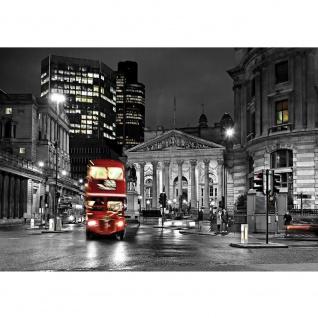 Fototapete London Tapete London Bus Lightning Nacht Skyline rot   no. 538
