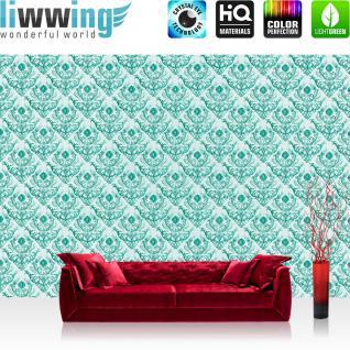liwwing Vlies Fototapete 416x254cm PREMIUM PLUS Wand Foto Tapete Wand Bild Vliestapete - Ornamente Tapete Muster Ranken Schnürkel grün - no. 1599