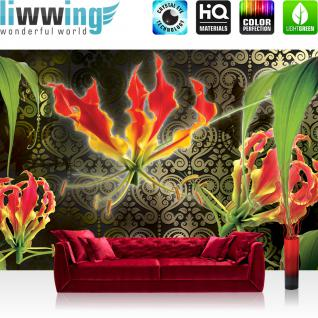 liwwing Vlies Fototapete 208x146cm PREMIUM PLUS Wand Foto Tapete Wand Bild Vliestapete - Orchideen Tapete Blumen Blüten Orchideen Ornamente braun - no. 2105
