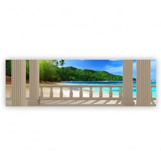 Leinwandbild Terrace View Caribbean Beach Seeblick 3D Strand Meer Sonne Palmen | no. 121 - Vorschau 2