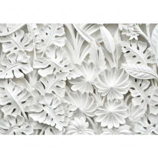 Fototapete Ornamente Tapete Blätter, Blüten, Stuck, Alabaster weiß | no. 3195