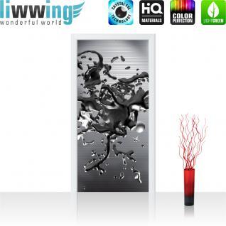 liwwing Türtapete selbstklebend 91x211 cm PREMIUM PLUS Tür Fototapete Türposter Türpanel Foto Tapete Bild - Abstrakt Blei Flüssig 3D Optik - no. 886
