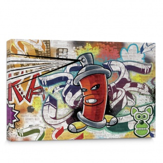 Leinwandbild Kinder Graffiti Dose Sprayer bunt | no. 338