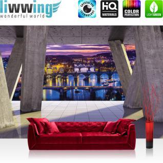 liwwing Vlies Fototapete 312x219cm PREMIUM PLUS Wand Foto Tapete Wand Bild Vliestapete - Architektur Tapete Terrasse Balkon Skyline Nacht Lichter Brücke Fluss grau - no. 2431