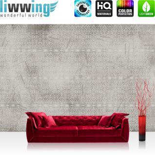 liwwing Vlies Fototapete 312x219cm PREMIUM PLUS Wand Foto Tapete Wand Bild Vliestapete - Ornamente Tapete Muster Design Kratzer Kunst grau - no. 2982
