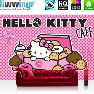 liwwing Vlies Fototapete 300x210 cm PREMIUM PLUS Wand Foto Tapete Wand Bild Vliestapete - Mädchen Tapete Hello Kitty - Kindertapete Cartoon Katze Donuts Kuchen pink - no. 506