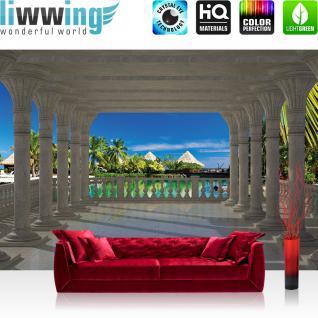 liwwing Vlies Fototapete 416x254cm PREMIUM PLUS Wand Foto Tapete Wand Bild Vliestapete - Meer Tapete Architektur Paradies Meer Bogen Palmen blau - no. 1206