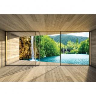 Fototapete Architektur Tapete Terrasse Balkon Fenster Holzwand See Wasserfall Bäume türkis | no. 2914