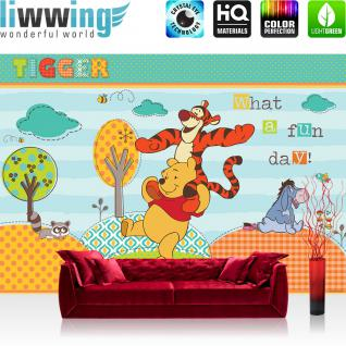 liwwing Vlies Fototapete 300x210 cm PREMIUM PLUS Wand Foto Tapete Wand Bild Vliestapete - Disney Tapete Disney - Winnie Pooh - Tigger Kindertapete Cartoon Tiger Eule Baum blau - no. 1122