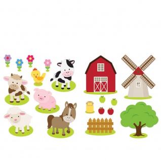 Wandsticker - No. 4835 Wandtattoo Sticker Windmühle bunt Illustration Bauernhof Tierem Kuh Schaf - Vorschau 2